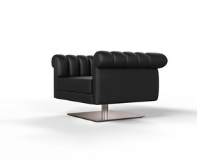 Modern Black Leather Armchair - Side View