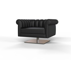 Modern Black Leather Armchair - Front Angle View