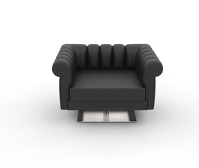 Modern Black Leather Armchair - Top View