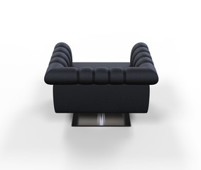 Modern Black Leather Armchair - Back View