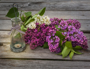 lilacs and light with a burning candle in the evening