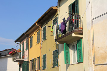 Drying clothes on the balcony