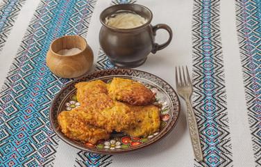 Traditional Ukrainian homemade potato pancakes in the Chernivtsi