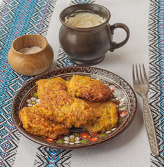 Traditional Ukrainian homemade potato pancakes in the Chernivtsi