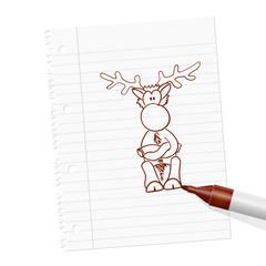 papierblatt filzstift rentier I