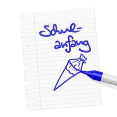 papierblatt filzstift schulanfang I