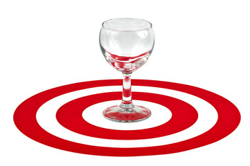 Wine glass in the center of red target