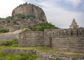 Gingee fort dominates the hill with ramparts.