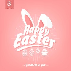Happy Easter Typographical Background With Bunny
