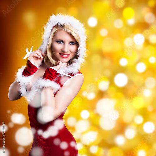canvas print picture attraktive Weihnachtsfrau