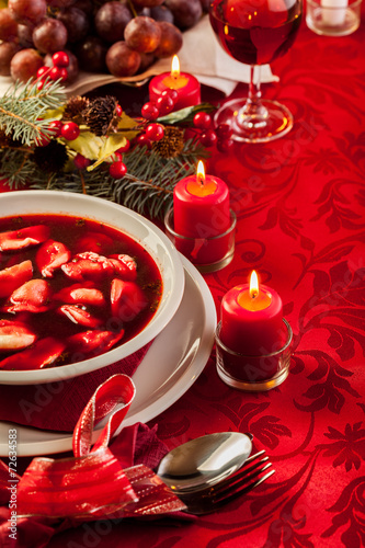 Christmas red borscht with meat filled dumplings - 72634583
