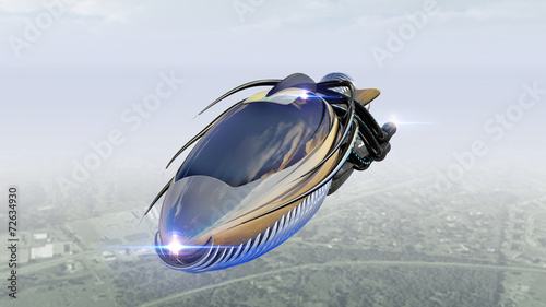 Futuristic military spacecraft or surveillance drone