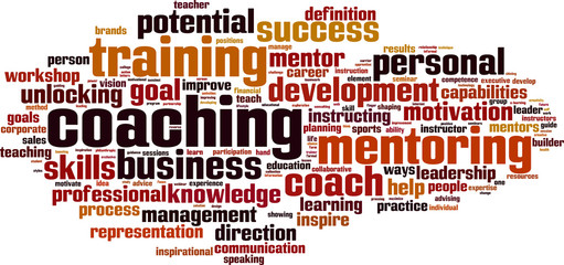 Coaching word cloud concept. Vector illustration