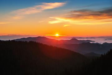 Beautiful autumn landscape in the mountains. Sunrise shot