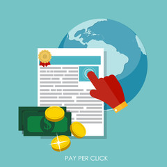 Pay Per Click Flat Concept for Web Marketing. Vector
