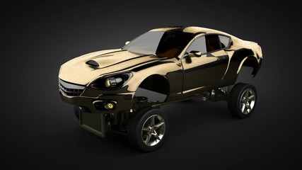 loop Car chassis with engine of luxury brandless sportcar