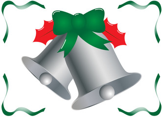 Silver Christmas Bells With Holly and Ribbon