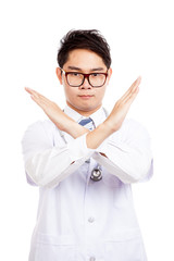 Asian male doctor say no cross his arm