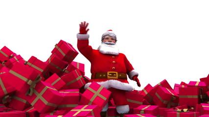 Santa crashes through pile of present boxes.
