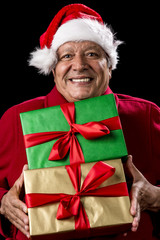 Jolly Male Pensioner In Red With Two Wrapped Gifts