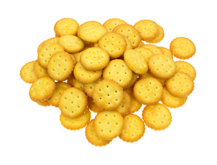 Group of small snack crackers on a white background