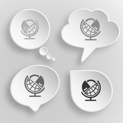 Globe and lock. White flat vector buttons on gray background.