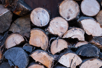 Catasta di legna ordinata, sfondo con trama