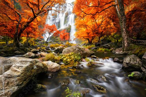 Waterfall in the autumn - 72639104
