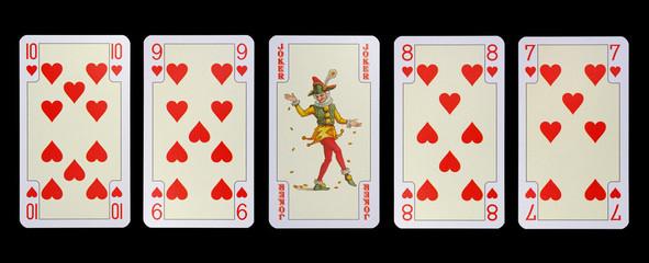 Spielkarten der Ladys -die Untertanen und der Hofnarr