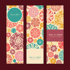 Vector abstract decorative circles vertical banners set pattern