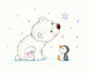 Cute polar bear and penguin