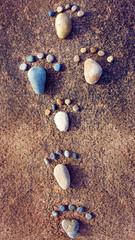idea concept, pebble, foot step