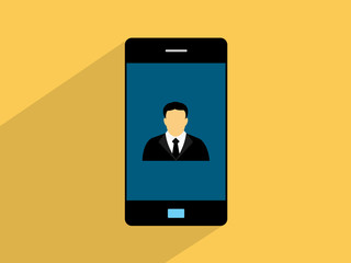 Businessman  on smartphone,cell phone illustration