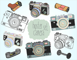 Hand drawn vector illustrations. Set of photo cameras