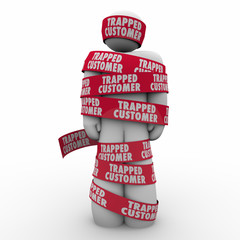 Trapped Customer Person Wrapped Tape Bound Contract Terms