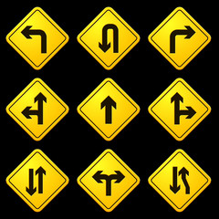 Directional Arrows Yellow Signs 01