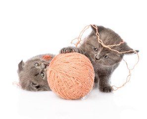kittens playing with a ball. isolated on white background