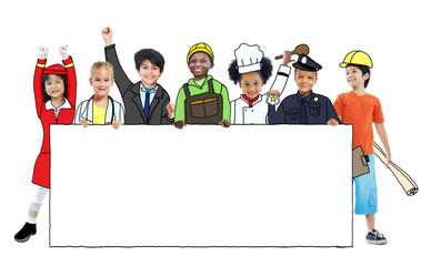 Children in Dreams Job Uniform Holding Banner