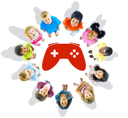 Multi-Ethnic Group of Children and Play Concepts
