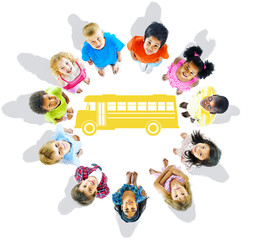 Multi-Ethnic Group of Children and School Bus