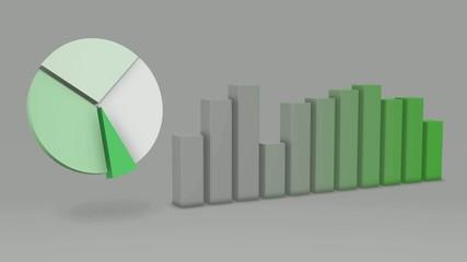 Green Pie Chart Bar Statistic 3D Loop