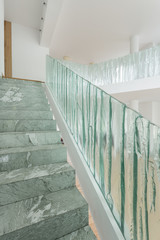 Stairs with glass rail