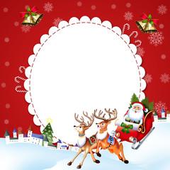 Санта Клаус в упряжке с оленями едет раздавать подарки