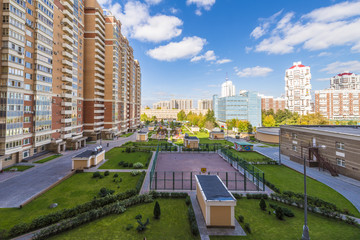 Modern residential area in Moscow. High-rise buildings