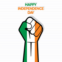 happy independence day of Ireland  flag in hand vector