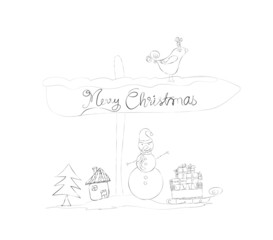 christmas doodle sketches