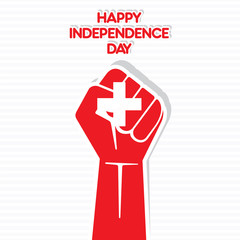 happy independence day of Switzerland hand symbol design vector