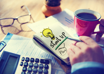 Businessman Notepad Startup Plan