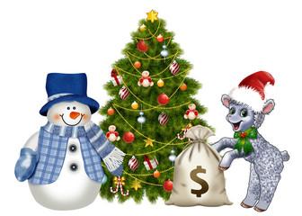 овечка и снеговик у новогодней елки с мешком денег