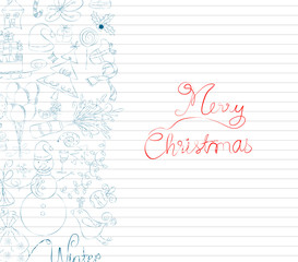 winter doodle with element christmas card